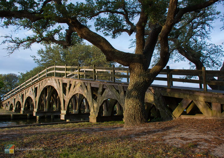 The foot bridge at Historic Corolla Park